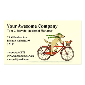 Cycling Dog with Squirrel Friend - Winter Scarf Double-Sided Standard Business Cards (Pack Of 100)