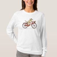 Cycling Dog with Squirrel - Fun Animal Art T-Shirt