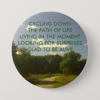 CYCLING DOWN THE PATH OF LIFE BUTTON