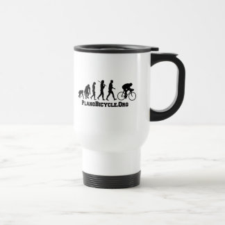 Cycling evolution College Style PlanoBicycle Logo Travel Mug