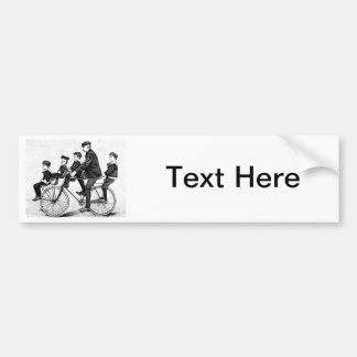 Cycling Family - Vintage Bicycle Illustration Car Bumper Sticker