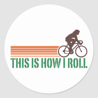 Cycling (female) classic round sticker