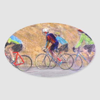 Cycling Fine Art Oval Stickers