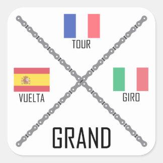 Cycling Grand Tours Square Sticker