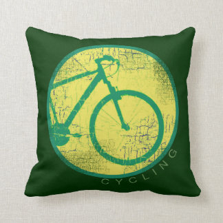cycling green bicycle throw pillow