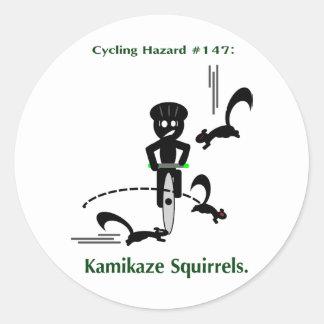 Cycling hazard: kamikaze squirrels round sticker
