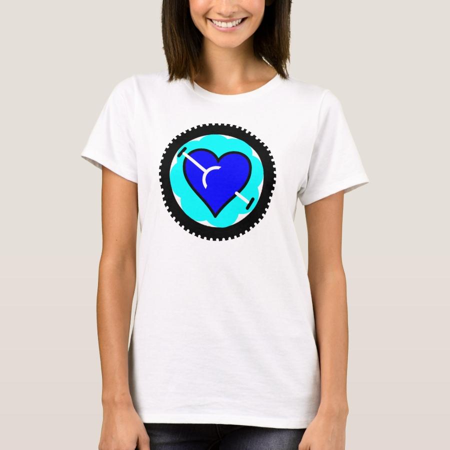Cycling heart acqua/blue T-Shirt - Best Selling Long-Sleeve Street Fashion Shirt Designs