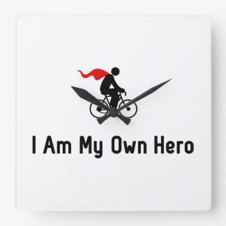 Cycling Hero Square Wallclock