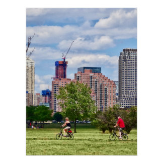 Cycling in Liberty State Park Poster