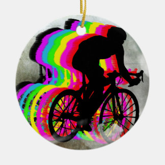 Cycling in the Clouds Ceramic Ornament