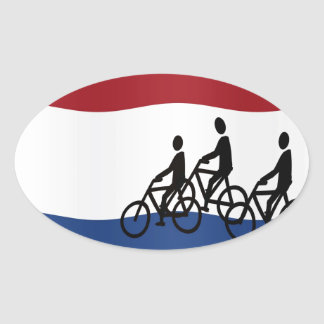 Cycling in The Netherlands Oval Sticker