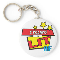 Cycling is LIT AF Pop Art comic book style Keychain