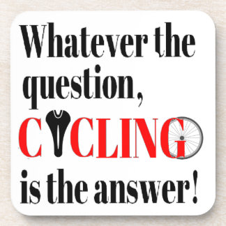 Cycling is the Answer Beverage Coaster
