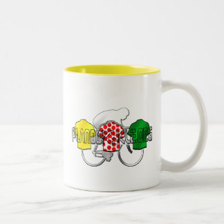 Cycling Jerseys Yellow Green and Red Polka Dot Two-Tone Coffee Mug
