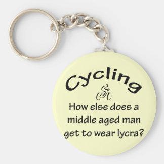 Cycling Man Basic Round Button Keychain