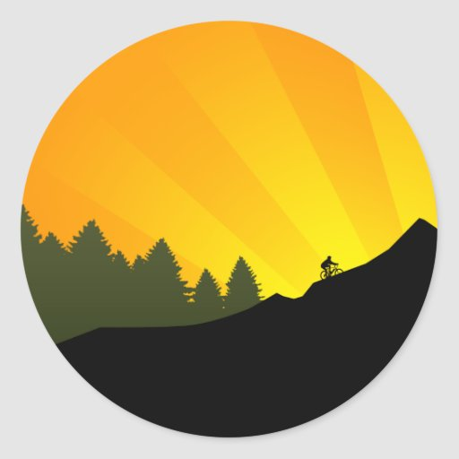 cycling : mountain rayz : round stickers