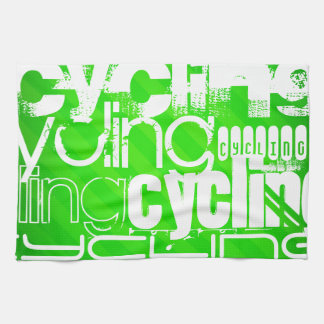 Cycling; Neon Green Stripes Hand Towel