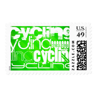 Cycling; Neon Green Stripes Postage