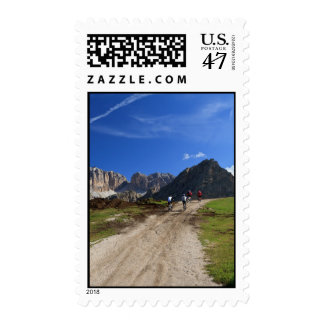 cycling on Dolomites Postage Stamp