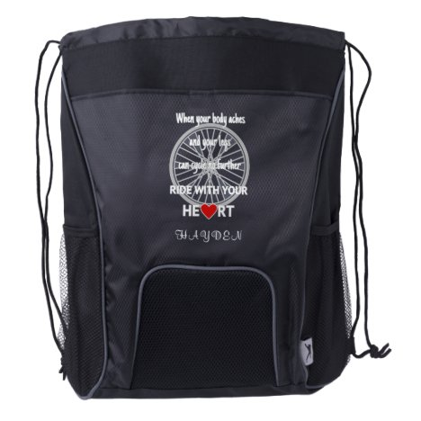 Cycling quote custom name sports drawstring backpack