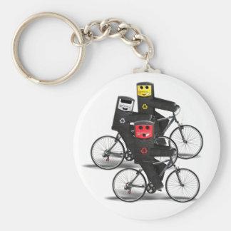 Cycling Recycle Bins Keychain