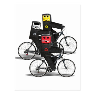 Cycling Recycle Bins Postcard