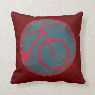 cycling red bicycle throw pillow