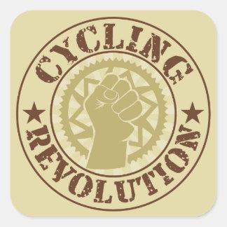 Cycling revolution badge square sticker