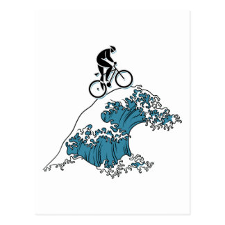 Cycling Riding The Wave Postcard