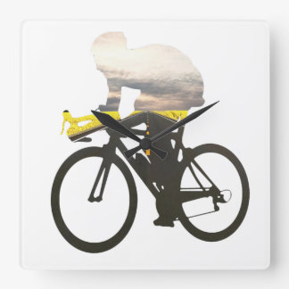 Cycling road cyclists 01 square wall clock