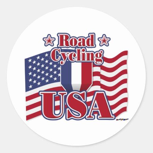 Cycling Road USA Round Sticker