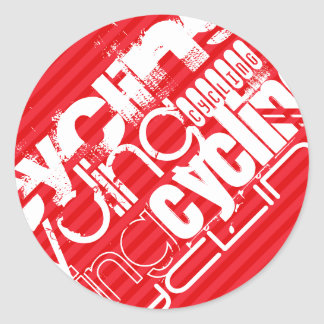 Cycling; Scarlet Red Stripes Classic Round Sticker