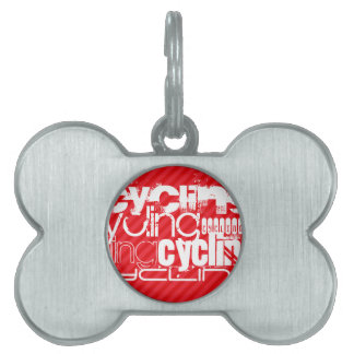 Cycling; Scarlet Red Stripes Pet Name Tag