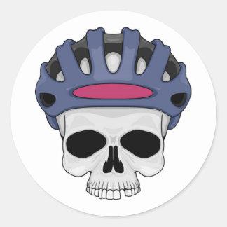 Cycling Skull Classic Round Sticker