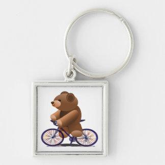 Cycling Teddy Bear Print Keychain