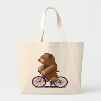 Cycling Teddy Bear Print Large Tote Bag