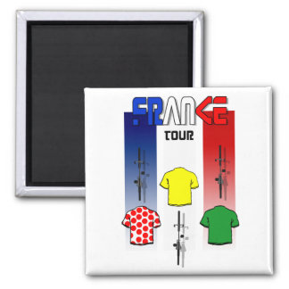 Cycling Touring France Cyclists gear 2 Inch Square Magnet