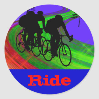 Cycling Trio on Ribbon Road Classic Round Sticker