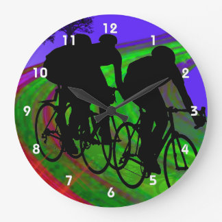 Cycling Trio on Ribbon Road Large Clock