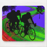Cycling Trio on Ribbon Road Mouse Pad