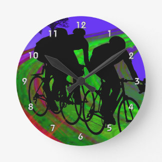 Cycling Trio on Ribbon Road.png Round Wall Clocks