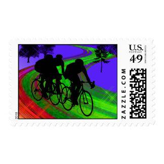 Cycling Trio on Ribbon Road Postage Stamp