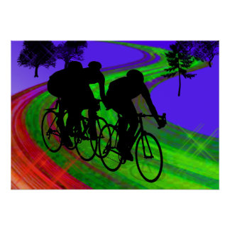 Cycling Trio on Ribbon Road Posters