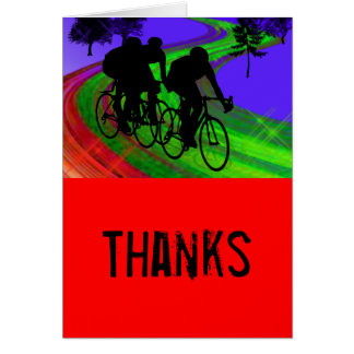 Cycling Trio on Ribbon Road Thanks Card
