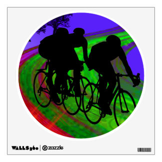 Cycling Trio on Ribbon Road Wall Decal