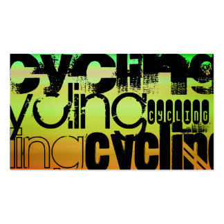 Cycling; Vibrant Green, Orange, & Yellow Business Card