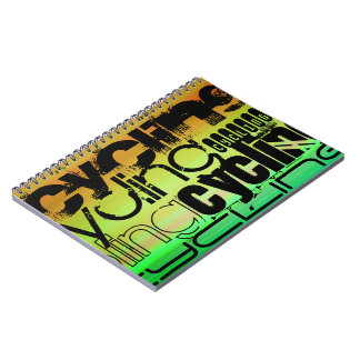 Cycling; Vibrant Green, Orange, & Yellow Note Book