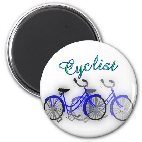 Cyclist (1950 Bicycle) Watercolor drawing Design Magnet