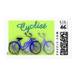 Cyclist (1950 Bicycle) Watercolor drawing Design Postage Stamps