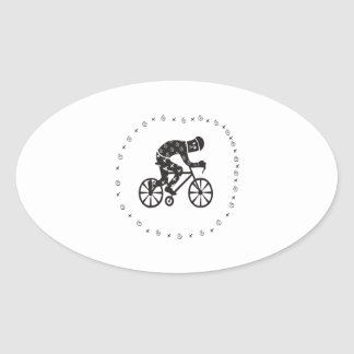 Cyclist 2 oval sticker